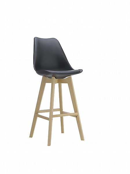 בנפט take-it |כסא בר בעיצוב מודרני מושב מרופד ורגליים עץ מלא. דגם 8055H LG-91